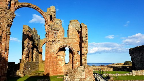 Wonderful view from Lindisfarne Priory out to sea