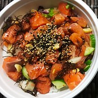 Salmon poke loaded up with seaweed, sesame and more!