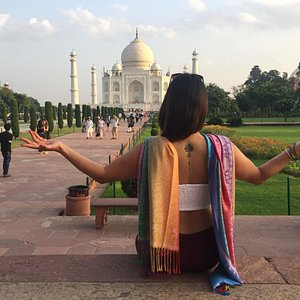 Ms. Macarena at Taj Mahal, Enjoying her tour with our driver guides