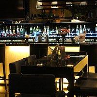 The soft light setting of the Mezzanine Lounge