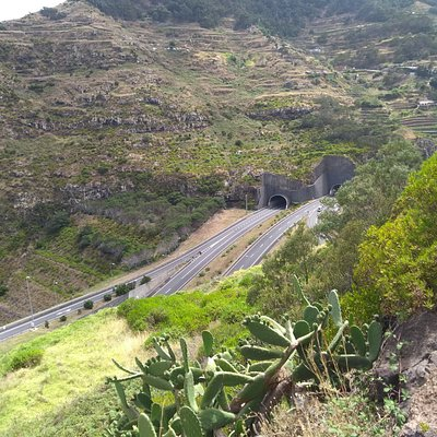 Looking back at the VR1 tunnels from Machico