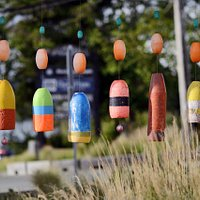 """Sea Chimes"", an original art work made entirely from marine debris in the the Float'em Garden."