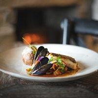 Roasted Hake, Mussels, Squid Stew