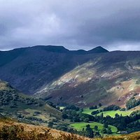 View from Place fell, looking towards Helvellyn & sharp peak of Catstycam.