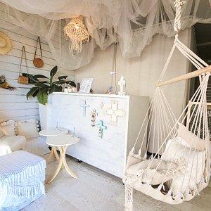Our cozy palmish reception area