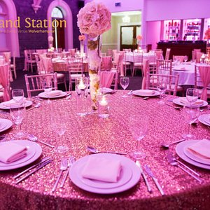 Private celebration gold sequin tablecloths