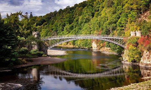 Thomas Telford's cast iron bridge over the River Spey at Craigellachie, Scotland.