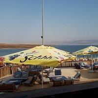 Blick von der Terrasse zum Toten Meer