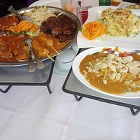 "Indonesian ""Rijsttafel"" with Foo Yong Egg on the side"