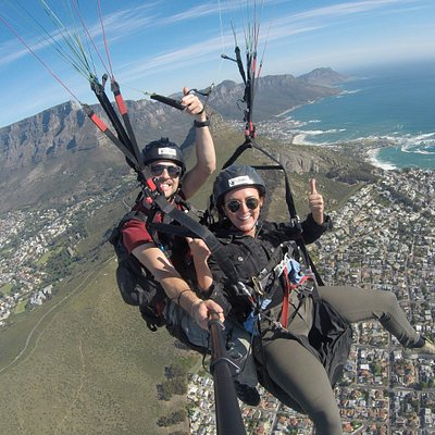 Getting nice and high flying over Cape Town from Signal Hill