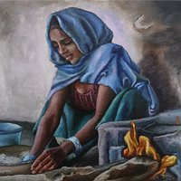 Woman kneading dough, Oil paintings for sale