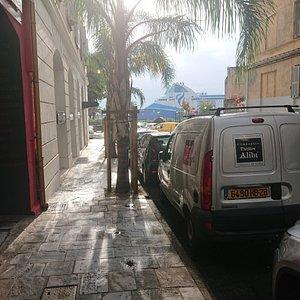 The van parked outside Theatre Alibi