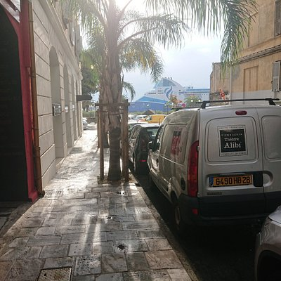 The van parked outside Theatre Alibi