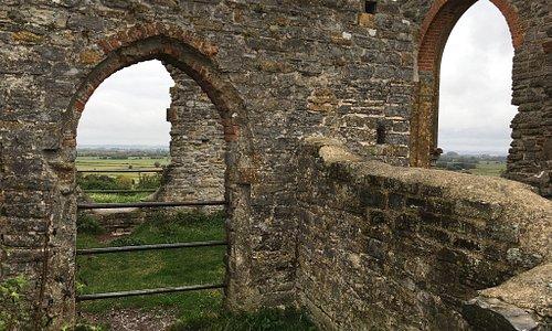 Among the ruins at Burrow Mump