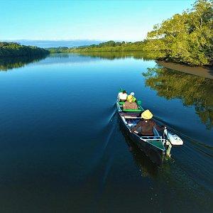 Cruising the Maroochy River in a Solar Powered Canoe.