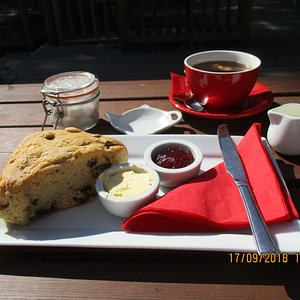 Mega scone, light and delicious with large cuppa