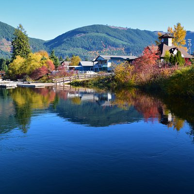 This view is a one minute walk from the Cowichan Lake Visitor Centre.