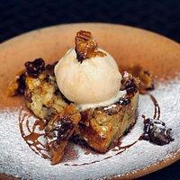 Warm chocolate croissant pudding with vanilla icecream