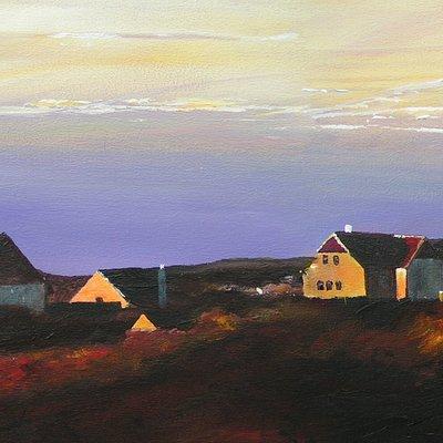 Danmarks længte Skagenmaleri på 50 cm x 4,50 cm solopgang over Gl. Skagen