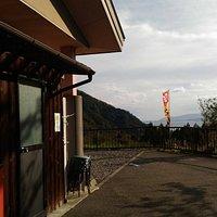 道の駅から奥琵琶湖が見える