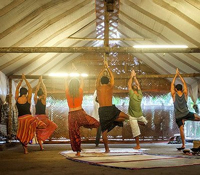 Morning yoga session in an eco friendly yoga studio