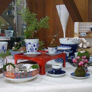 「小品盆栽教室」 日本の四季を感じていただくために、その時期の山草なども使います。
