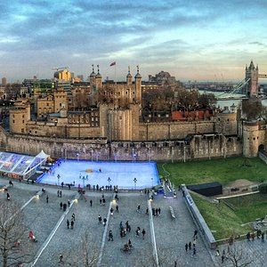 Bird's eye view of the ice rink as it stands in the Tower of London grounds