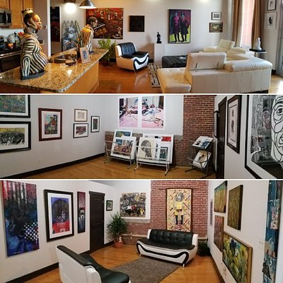 These are photos of different areas in the gallery