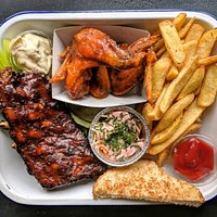 Kansas City Ribs, Hot Wings and French Fries in a Combo plate!