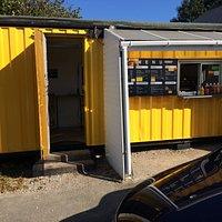 Terrt's Tasties Takeaway Hatch and Door to Seating Area