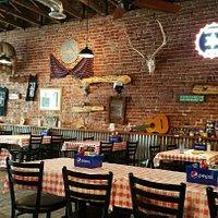 Dining room at El Corral-clean tables, clean condiments, clean restrooms!