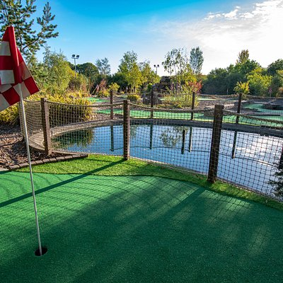 One of the 18 holes on our mini golf course.