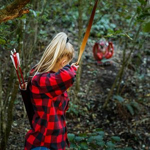 """""""Hunt"""" lifelike game and fantasy archery targets in our native forest archery range."""