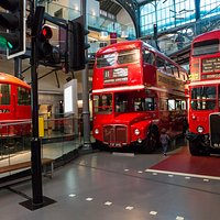 Historic buses and trains at London Transport Museum