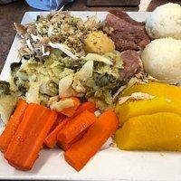 Jiggs dinner with salt beef, turkey, mashed peas, mashed potatoes, turnips,carrots, gravy