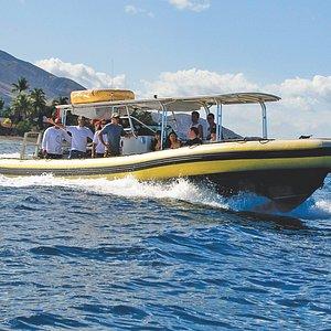 37 feet custom built hard bottom inflatable with 300hp twin engines.