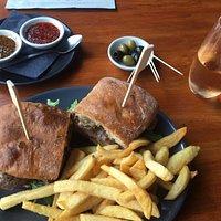 Excellent steak sandwich lunch & pink bubbles!