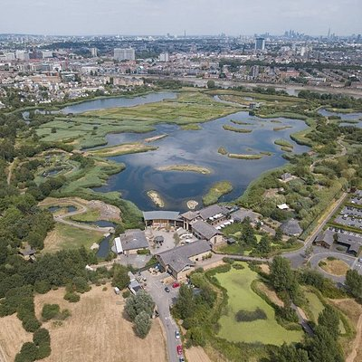 Aerial shot of London Wetland Centre