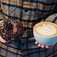 Choc mint donut & cafe latte
