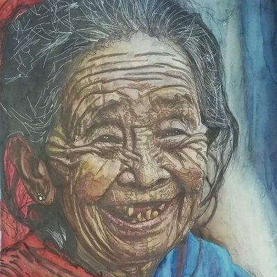 Struggling smile woman