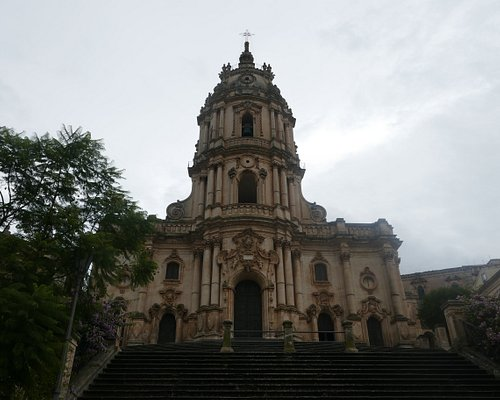 The church dominates the upper area of the town