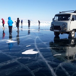"""A special Russian army van equipped and charged to drive on lake Baikal's ice.One of the """"Wow"""" s"""