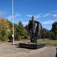 Marszałek Piłsudski patrzy na parkową zieleń.