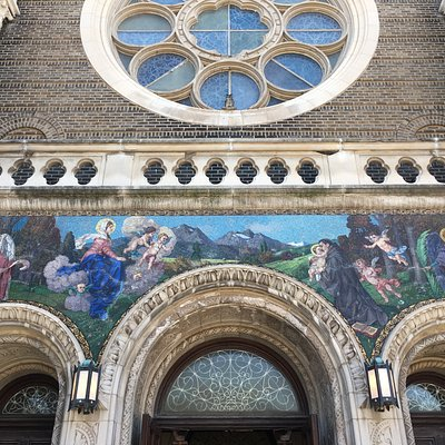 Beautiful mosaics over the entry