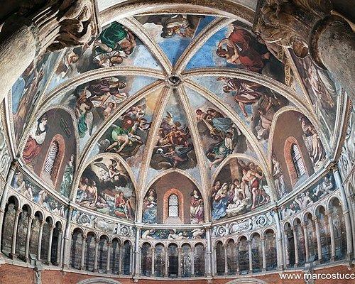 La cupola affrescata dal Guercino tra il 1626 e il 1627, visitabile per ammirare i dipinti