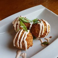 Kimchi Fried Rice Balls with Sriracha Crema $10 GF and Vegetarian available upon request
