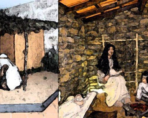 Os dois principais dioramas do Museu Municipal de Arqueologia Coronel Albino Pereira Lopo (adaptado).