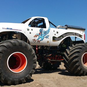 """This is the MONSTER TRUCK """"Blue Buzzard"""" you can learn to drive on our privatr Road Course near Waterbury, CT USA."""