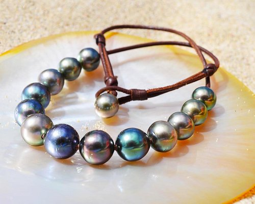 Choker Necklace with Multicolor Tahitian Pearls - Ask for yours Online - Jewelry on mesure - www.kalinasperles.com