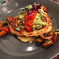 Corn fritters with avocado mash